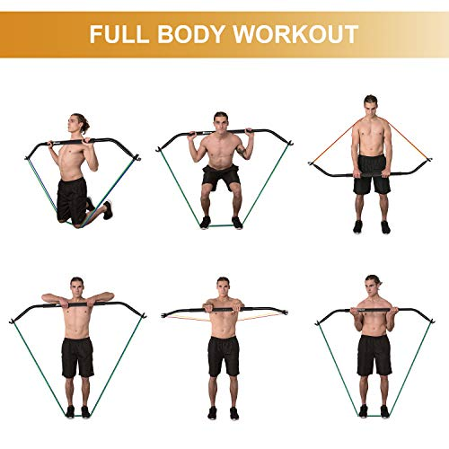 SHINYEVER Bow Portable Home Gym Resistance Bands Fitness Equipment System with 6 Resistance Bands,Weightlifting Training…
