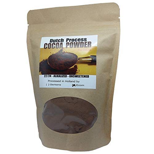 ECOM Dutch Processed Cocoa Powder 22/24 Alkalized Unsweetened Light Brown European Style (8 oz) ()