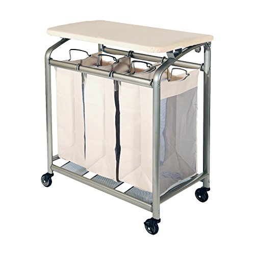 3 Bag Versatile and Durable Laundry Sorter with Folding Table by Seville Classics