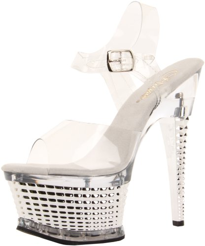 Clear Platform Illusion Silver C Pleaser Women's SCH Chrome 658 Silver Sandal Clear zFgwqB