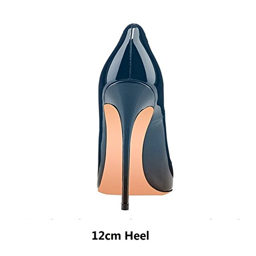 EDEFS Womens Pointed Toe Stiletto Court Shoes Slip-on High Heels Pumps Evening Shoes Green hqiuJr