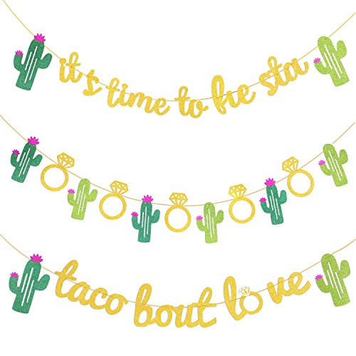 3 Pieces Mexican Fiesta Glitter Banner Taco Bout Love It's Time to Fiesta Cactus Pattern Garland Flag for Baby Shower Bridal Wedding Engagement Party Decorations (Color Set 1)]()