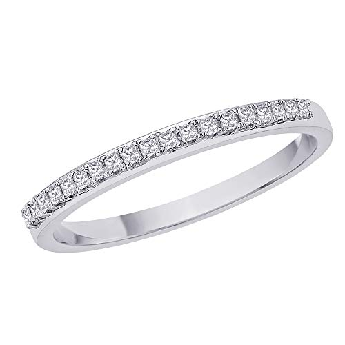 Princess Cut Diamond Anniversary Wedding Band Stackable Ring in 10K White Gold (1/10 cttw, H-I, I1) (Size-9.25)