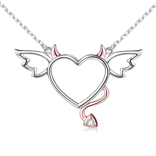 Two-Tone 925 Sterling Silver Devil Heart with Wings Pendant Necklace for Women,18″
