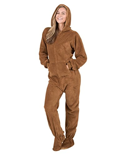 b1a88c611 Amazon.com  Footed Pajamas - Teddy Bear Adult Hoodie Chenille Onesie ...