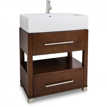 Jeffrey Alexander Vanity with Preassembled Top and Bowl in Chocolate