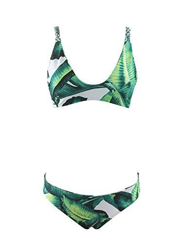 Zando Women 2 Piece Tank Top Bikini Set Swimsuit Cute Floral Printing Padding Tankini Bathing Suit for Teens Green Leaf X-Large (US 10-12) - Tank 2 Piece Set