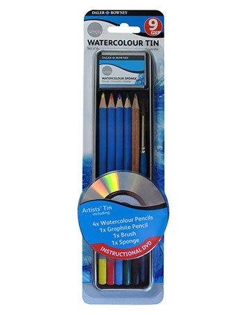 - Daler-Rowney : Simply Pencil : Watercolour Tin Set : Set Of 9