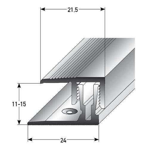 5 metros (5 x 1 m) (clic sistema) - Perfil de acabado / Guardacanto laminado, por altura: 11 – 15 mm, 21,5 mm de ancho, bipartito, aluminio anodizado, incluye tornillos y tacos por altura: 11 - 15 mm Auer