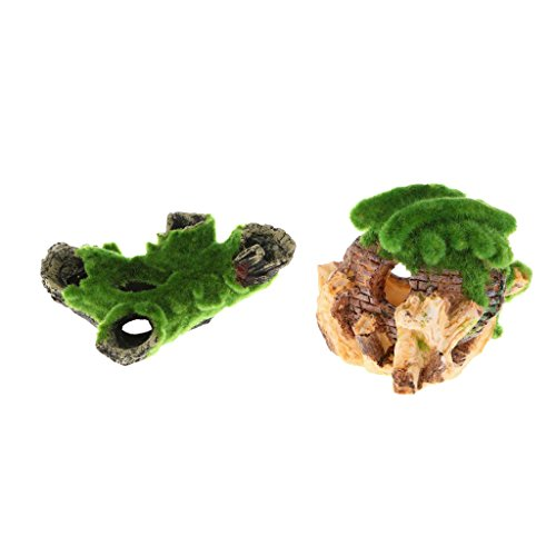 Jili Online Resin Cottage and Tree Trunk with Artificial Moss on for Aquarium Fish Tank Micro Landscape Decoration, Set of 2
