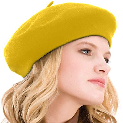 Kimming Womens Beret 100% Wool French Beret Solid Color Beanie Cap Hat Yellow (Ivory Wool 100 Beret)