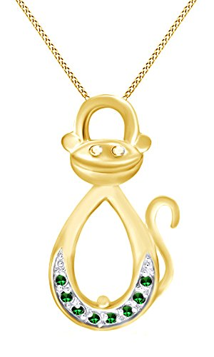 AFFY Simulated Green Emerald Infinity Monkey Pendant Necklace in 14K Yellow Gold Over Sterling Silver