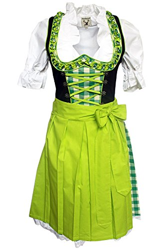 Alpenmärchen 3tlg. Dirndl-Set - Trachtenkleid, Bluse, Schürze, Gr. 34-54, grün-schwarz - ALM315