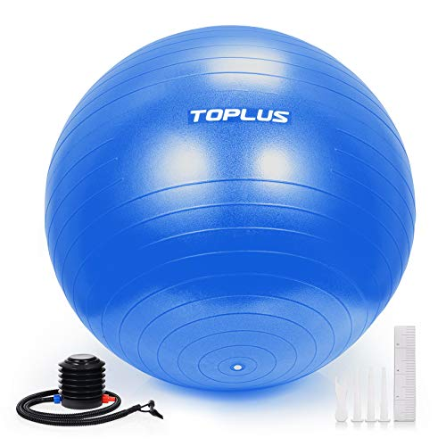 Toplus Exercise Ball Thick Yoga Ball Chair for Fitness, Stability, Balance, Pilates, Birthing – Anti Burst Supports…