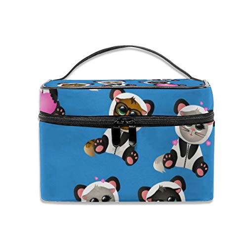 Dkhh Cat in Panda Costume Travel Makeup Bag Cosmetic Cases Organizer Portable Storage Bag for Cosmetics Makeup Brushes Toiletry Travel Accessories ()