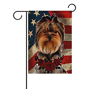 Johnnie Yorkshire Terrier Garden Flag 12 X 18 Inches, Vintage American Flag Flower Rose Double Sided Seasonal Outdoor Flag and Best for Party Yard Home Decor 1