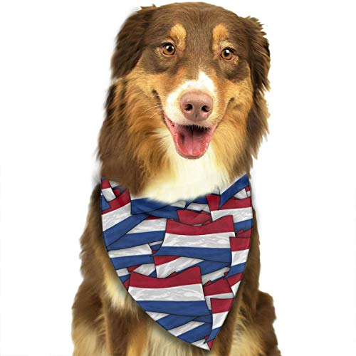 OURFASHION Netherlands Flag Wave Collage Bandana Triangle Bibs Scarfs Accessories for Pet Cats and Puppies.Size is About 27.6x11.8 Inches (70x30cm).
