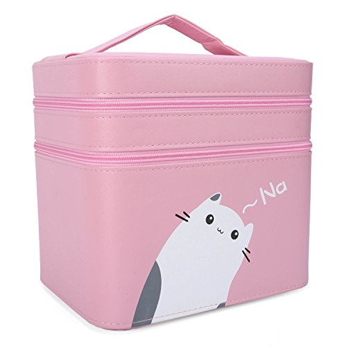 TopWigy Cosmetic Bag Double Layer PU Leather Travel Toiletry Bag Organizer with Mirror (Pink)