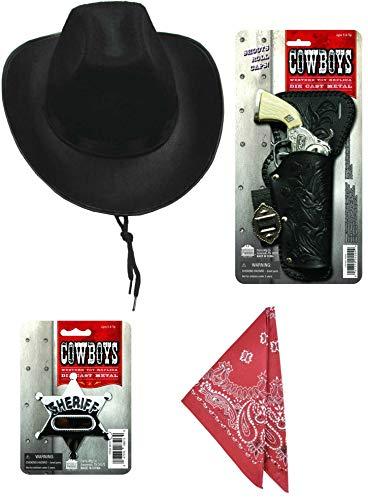 (Cowboy Playset Costume Accessories - Black Cowboy Hat, Western Toy Cap Gun, Red Bandana, and Sheriff Badge)