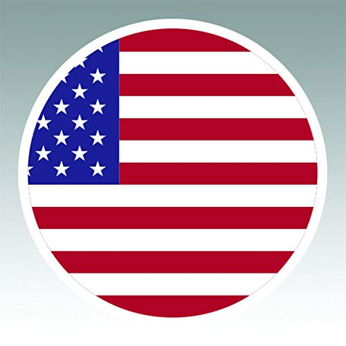 Round American Flag Sticker Premium Decal Die Cut Circle USA America Stars