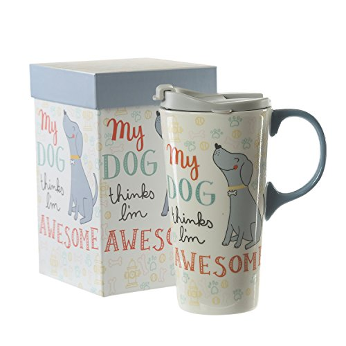 Travel Mug Box - 17 oz Ceramic Coffee Travel Mug with Lid and Handle,Dog