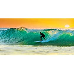 Surfer on a Wave Surfing Sunset Decorative Summer Water Sports Poster Print (Unframed 12 x 24)