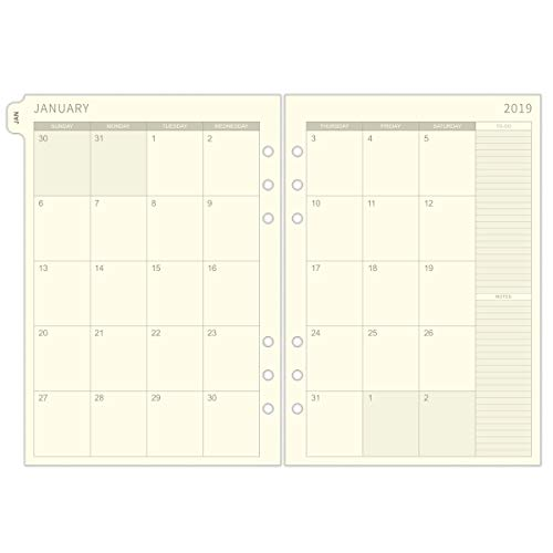 2019 Monthly Planner Refill, Two Page Per Month, January 2019 - December 2019, 5.7