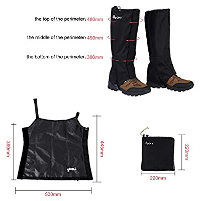 Hpory 1 Pair Hiking Leg Gaiters, Snow Boot Gaiters, Breathable Waterproof Walking High Leg Cover, 600D Anti-tear Oxford Cloth, for Outdoor Research Climbing Fishing Hunting Trimming Grass