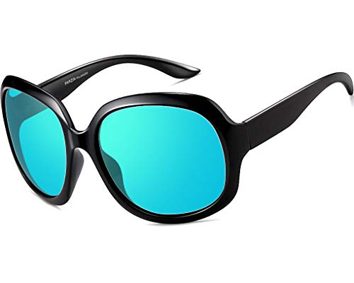 ATTCL Womens Oversized Women Sunglasses Uv400 Protection Polarized Sunglasses (Black-blue, 3113)