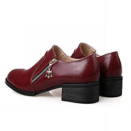 Carolbar Donna Moda Retrò Vintage Cerniera Stile Britannico Casual Metà Tacco Grosso Scarpe Vino Rosso