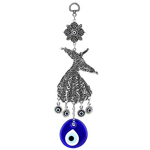 (Bead Global Turkish Glass Blue Evil Eye Wall Hanging Sufi Whirling Ornament - Metal Home Decor Amulet - Protection and Good Luck Charm Gift)