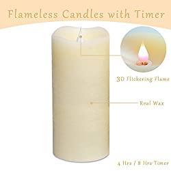 Flameless Candles With Timer, Flickering Flameless Candles, Battery Operated Led Candles With Moving Wick, 7 Inch Large Flameless Pillar Candles With Dancing Flame(ivory)(medium)