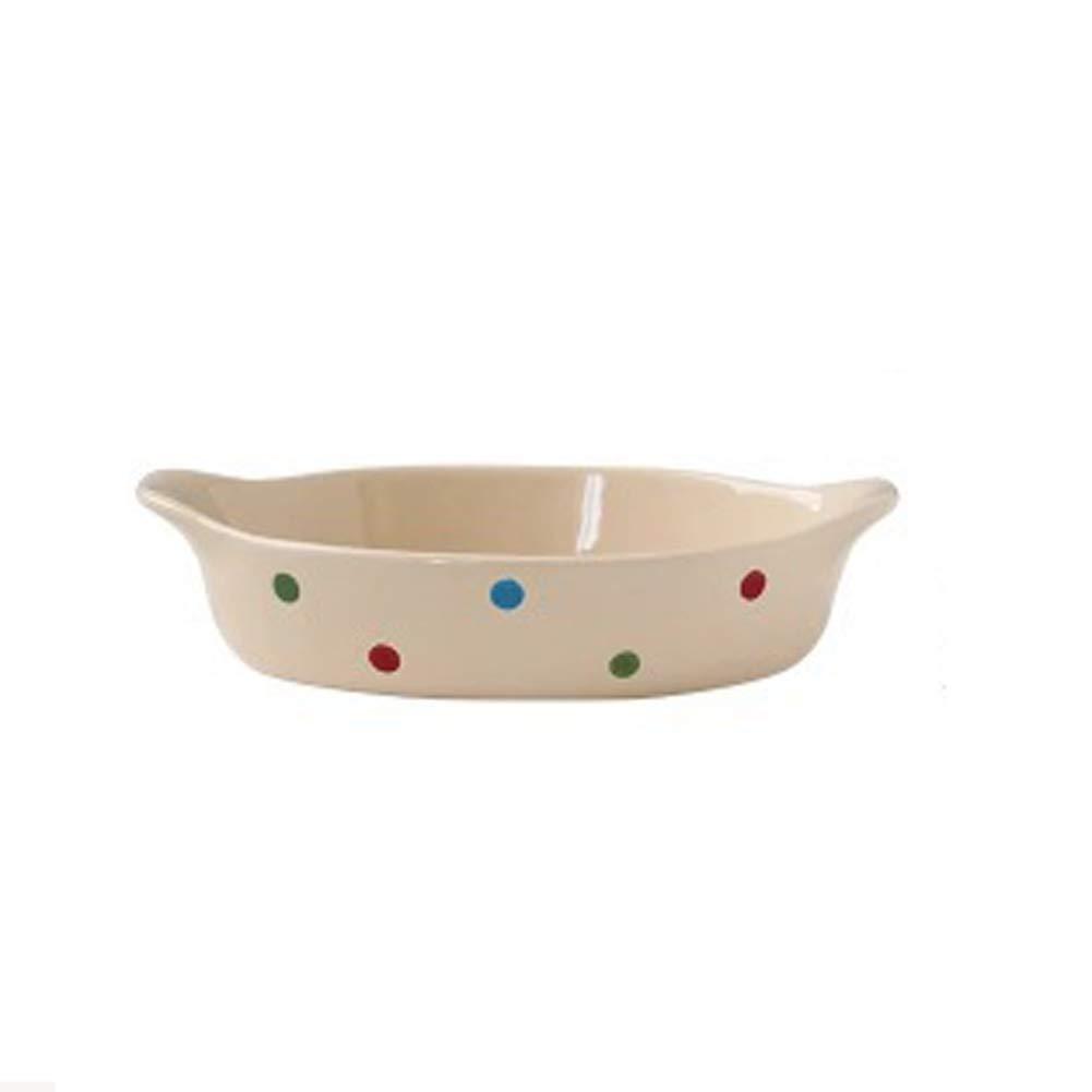Ceramica rotondo teglia forno domestico Matt ceramica smaltata doppio orecchio Formaggio Rice Bowl Insalata occidentale Platte,Blu