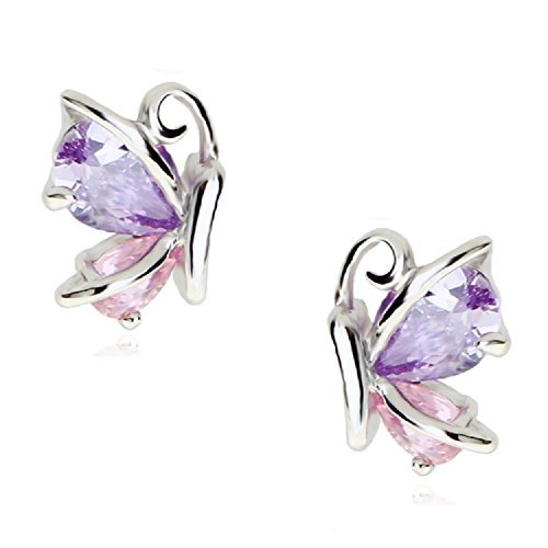 Butterflies Stud Earrings with Pink Purple Violet Zirconia Crystals 18 ct White Gold Plated for Women and Girls