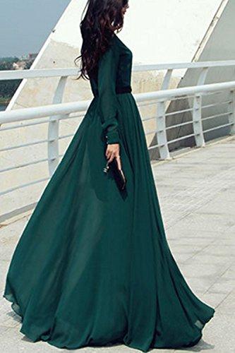 Retrò Green Maniche Trainate Xl Donna Gonna Elegante Lunghe wxHqp6zE