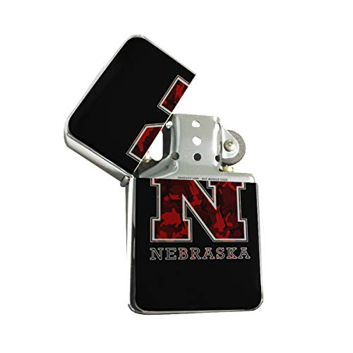 - Nebraska Red Camouflage - Silver Lighter Windproof Flip-Top Refillable with tin Gift Box