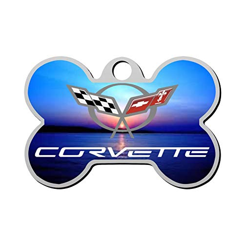 BSARRE Personalized Pet ID Tags for Dogs & Cats Corvette Double Sided Bone Dog Tag