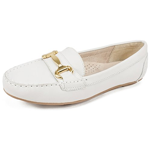 WHITE MOUNTAIN Shoes Scotch Women's Moccasin, White/Tumbled Leather, 9H - Footwear Leather Tumbled White