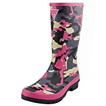 SYYAN Women 's Rubber Puddles printing Waterproof Non-slip Tall Tube Rain Boots Camouflage