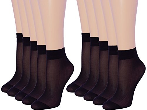 (10 Pack Womens Ankle High Sheer Socks 20 DEN (BLACK, 7-10))