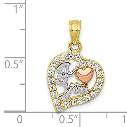 10k Two Tone Gold /& White Rhodium Plated I Love You Synthetic CZ Heart Pendant