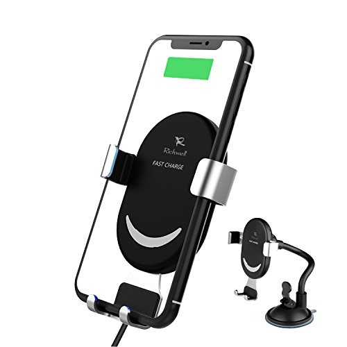 Wireless Car Charger Qi 10w Fast Wireless Charging Car Mount Phone Holder Richwell for iPhone X 8 Plus Samsung Galaxy S9 Plus Note8 S8 Plus S7 and Standard Charge for Qi Enabled Devices(Black) by Richwell