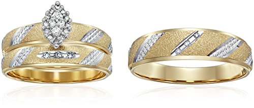 10k Yellow Gold Diamond Trio Wedding Ring Set (1/10cttw, ...