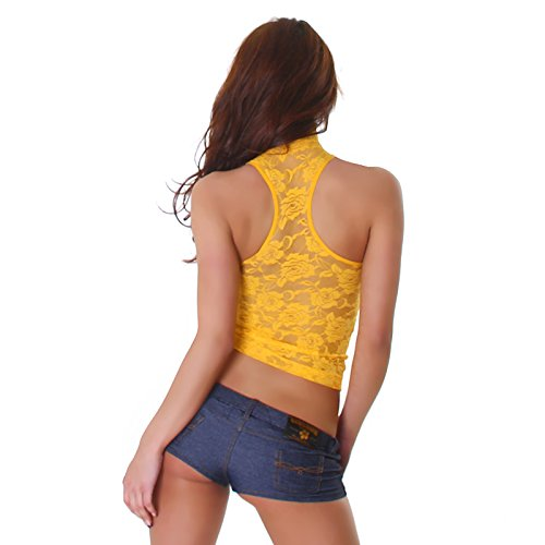 Unbekannt Pizzo Collo Design Floreale Camicia di Signore Shirt Floreale Maniche Necktop a Top Moda Alto Senza Pizzo Motivo T Shirt Giallo Alla rU4rwYaq