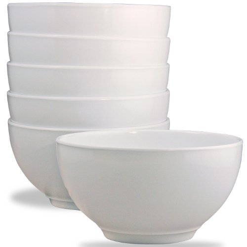 Calypso Basics by Reston Lloyd Melamine Bowl, Set of 6, White by Reston Lloyd