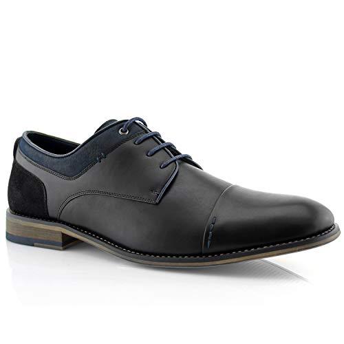 Polar Fox Alexander MPX19610L Men's Classic Memory Foam Vegan Leather Lace-Up Cap Toe Suede Oxford Dressing Shoes - Black, Size 10 ()