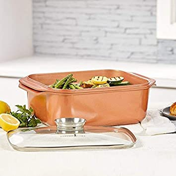 14 In 1 Multi-Use Copper Chef Wonder Cooker with roasting pan and lid, Multi-Use Grill pan 10.5 QT 3 Piece Set