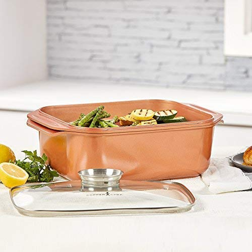 14 In 1 Multi-Use Copper Chef Wonder Cooker with roasting pan and lid, Multi-Use Grill pan (10.5 QT 3 Piece Set) 3 Piece Roaster Set