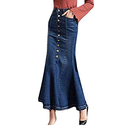 VEZAD Womens Fashion Long High Waist Button Pocket Front Fishtail Denim Maxi Skirts