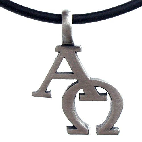 OhDeal4U AΩ Alpha and Omega Christian Symbols Silver Pewter Pendant W Necklace (Black PVC Cord)